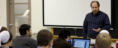 """Steven Brubaker teaching """"Reading the Bible"""", a Winter Term Class"""